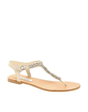Image 1 ofSteve Madden Bride Diamante T-Bar Strap Flat Sandal