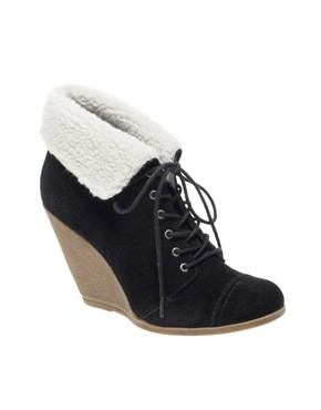 Image 2 ofASOS ARCTIC Suede Crepe Wedges With Shearling Effect