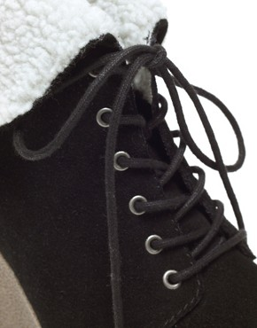Image 3 ofASOS ARCTIC Suede Crepe Wedges With Shearling Effect