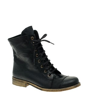 Image 1 ofASOS ARCHIVE Leather Lace Up Ankle Boots