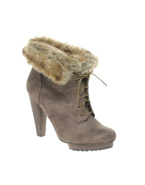 Image 2 ofASOS AUTOGRAPH Faux Fur Cuff Lace Up Boots