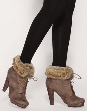 Image 4 ofASOS AUTOGRAPH Faux Fur Cuff Lace Up Boots