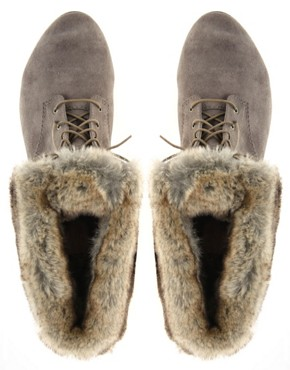 Image 1 ofASOS AUTOGRAPH Faux Fur Cuff Lace Up Boots