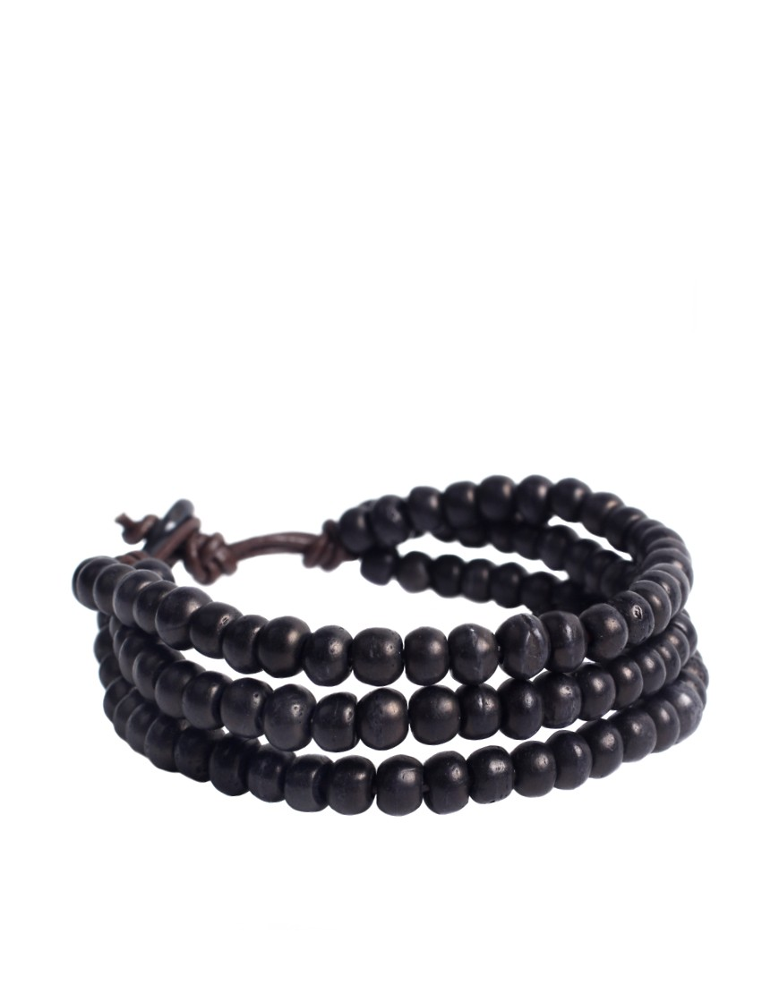Image 1 of ASOS Triple Beaded Black Bracelet