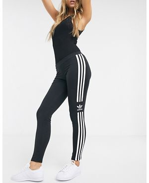 아디다스 오리지널 우먼 레깅스 adidas Originals adicolor locked up logo leggings in black,Black