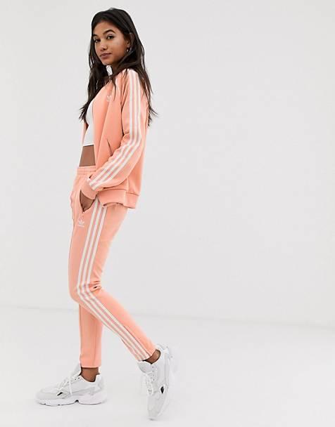 adidas Originals adicolor three stripe cigarette pant in pink