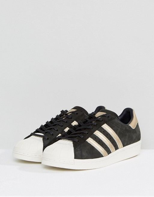 adidas Originals | adidas Originals Black and Gold Superstar 80S Sneakers