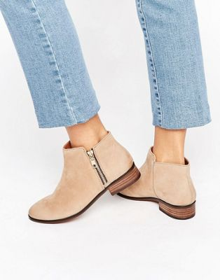 Image 1 of ALDO Julianne Taupe Zip Flat Leather Ankle Boots