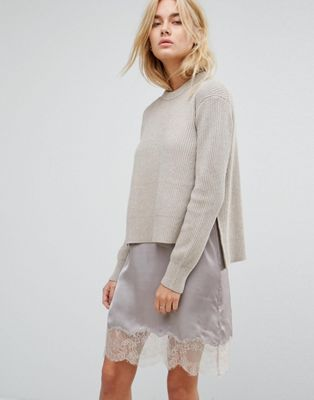 Image 1 of All Saints Eloise Jumper Dress with Lace Slip
