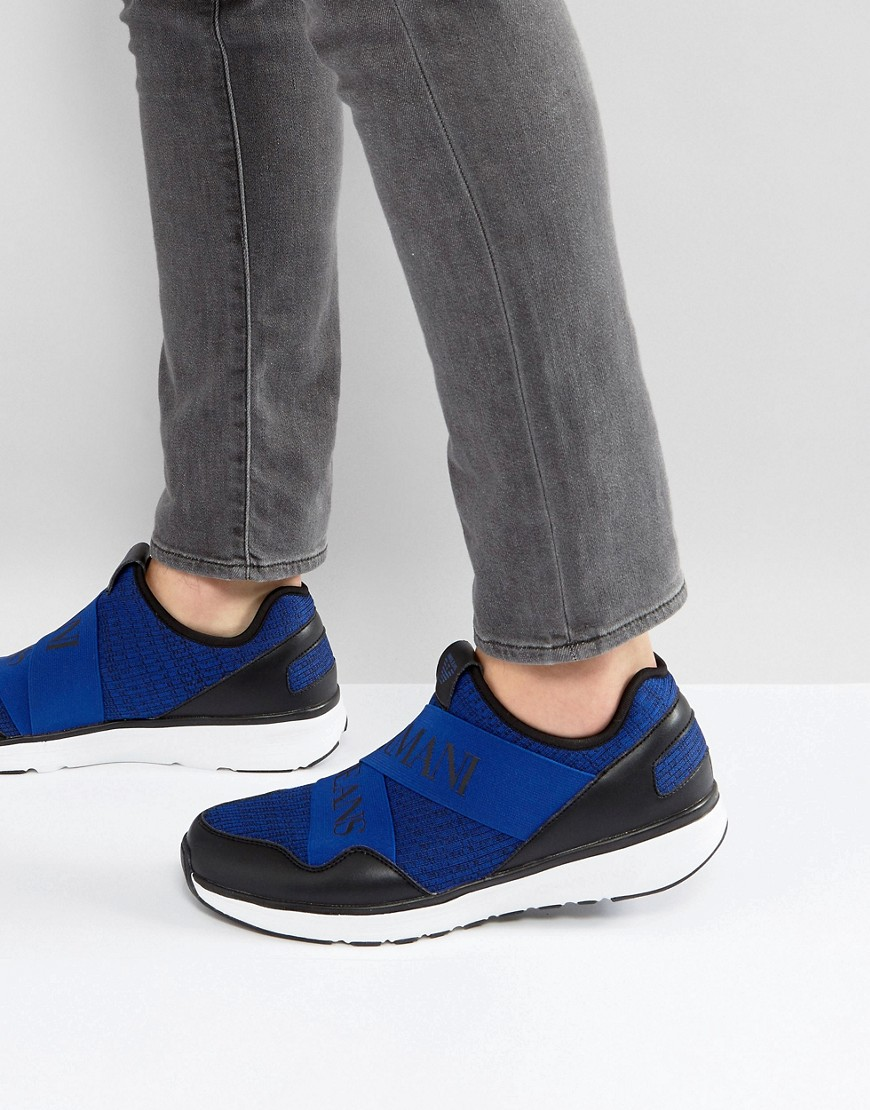 Armani Crossover Logo Knitted Sneakers in Blue
