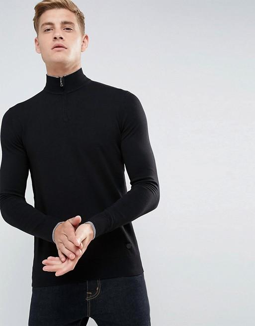 Armani Jeans - Pull avec logo et encolure à fermeture éclair - Noir