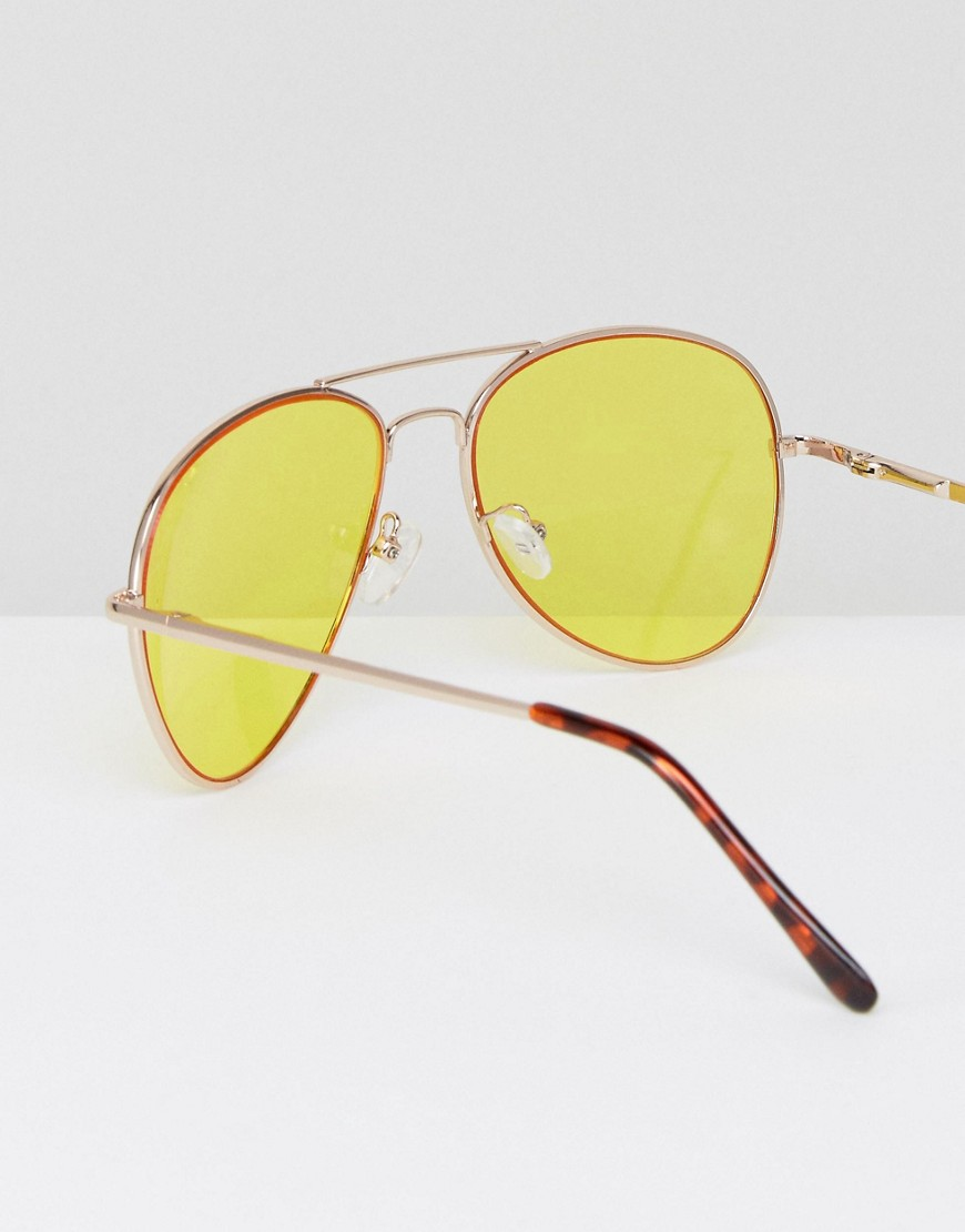Asos 2 Pack Aviator Sunglasses With Yellow Lens & Clear Lens by Asos Collection