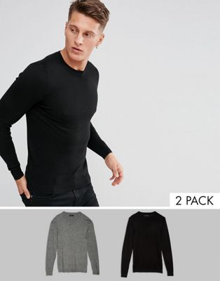 Image 1 of ASOS 2 Pack Muscle Fit Cotton Sweater In Black/Gray Twist SAVE