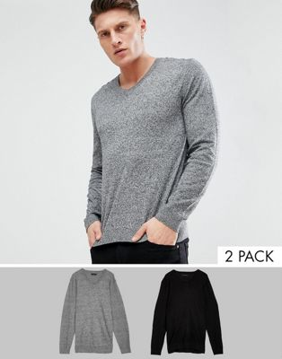 Image 1 of ASOS 2 Pack V-neck Jumper In Black/Grey SAVE