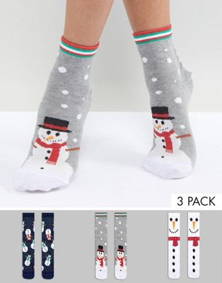 Image 1 of ASOS 3 Pack Christmas Snowman Cracker Socks