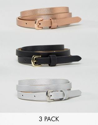 Image 1 of ASOS 3 Pack Metallic Waist And Hip Belts