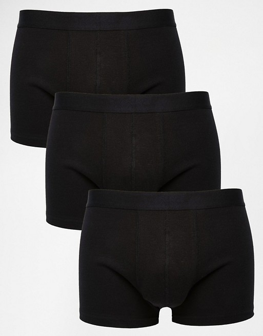 Home; ASOS 3 Pack Trunks In Black Rib Fabric SAVE 20%. image.AlternateText
