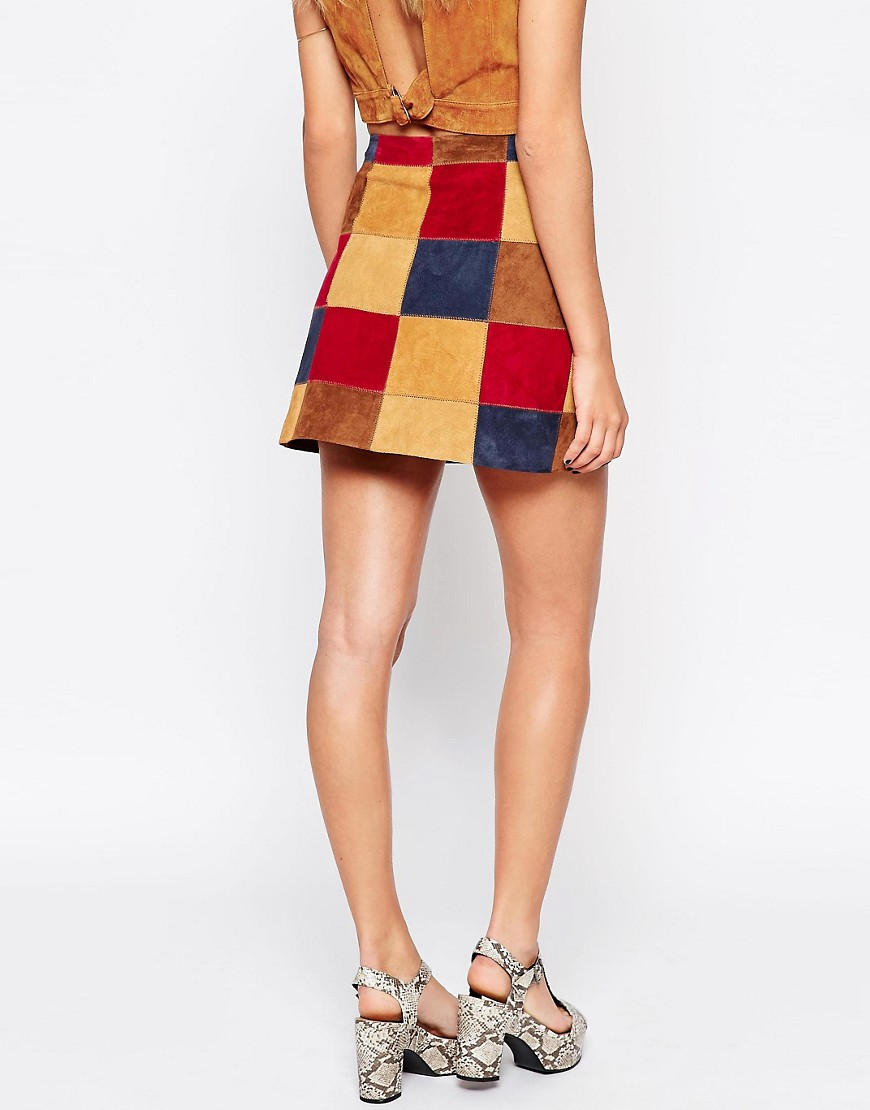 ASOS | ASOS A Line Skirt In Patchwork Suede With Button Through