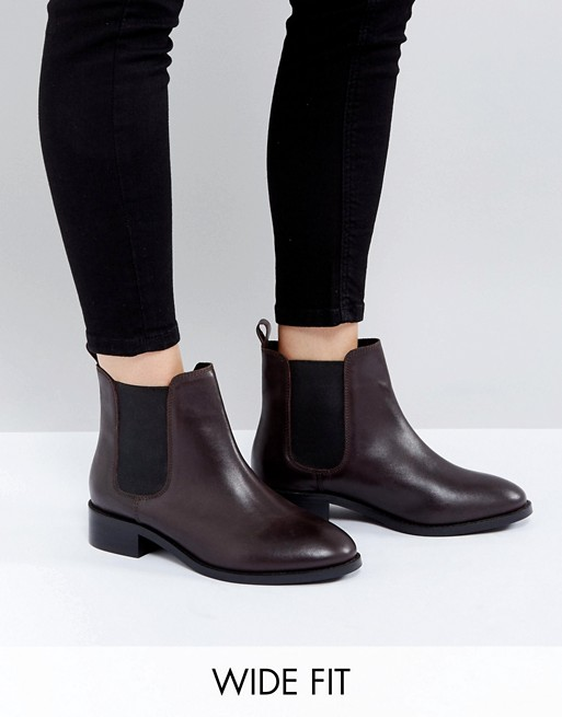 asos asos absolute wide fit leather chelsea ankle boots. Black Bedroom Furniture Sets. Home Design Ideas