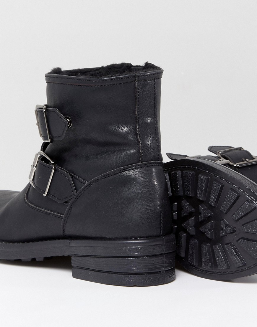 Asos Accent Wide Fit Studded Biker Ankle Boots by Asos Collection
