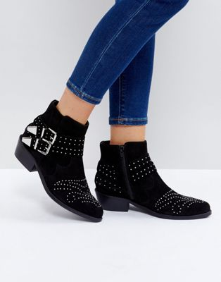 Image 1 of ASOS ASHDEN Suede Studded Boots