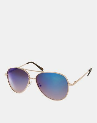 Image 1 of ASOS Aviator Sunglasses With Blue Mirrored Lens