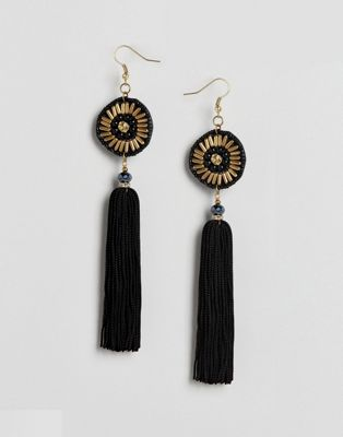 Image 1 of ASOS Beaded Disc and Tassel Earrings