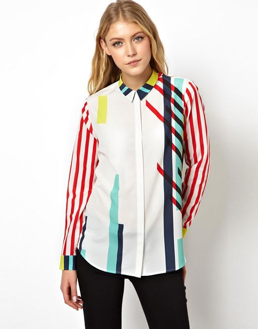 Image 1 of ASOS Blouse in Layered Stripe Placement Print
