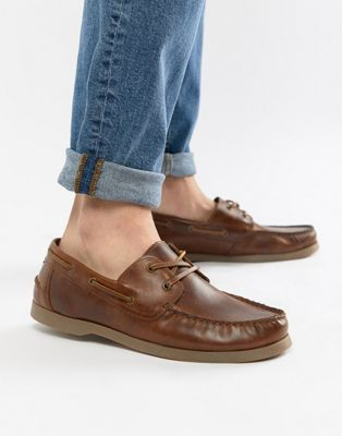 Image 1 of ASOS Boat Shoes In Tan Leather