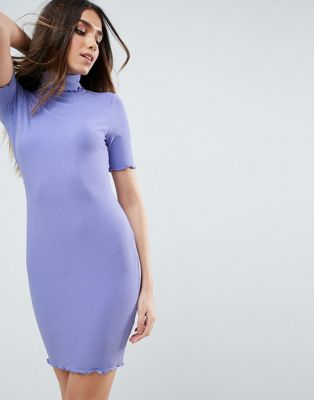 Image 1 of ASOS Bodycon Dress in Rib with Roll Neck
