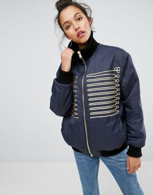 Image 1 of ASOS Bomber Jacket with Gold Trims