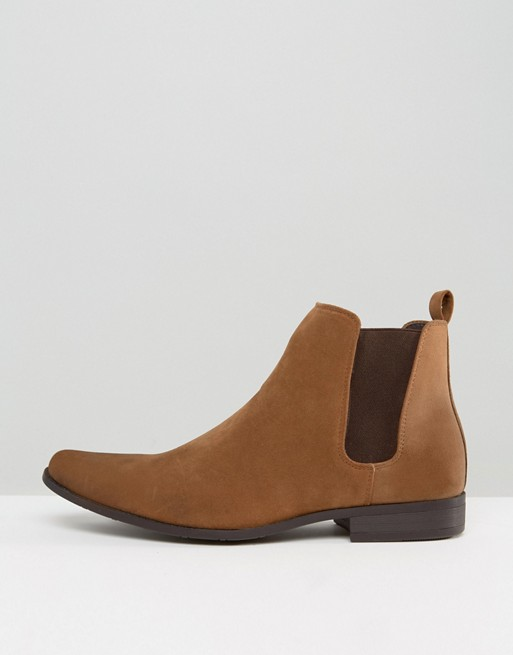 Bottines Chelsea imitation daim - Fauve
