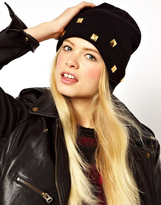 Image 1 of ASOS Boyfriend Knit Beanie With Studded Turn Up