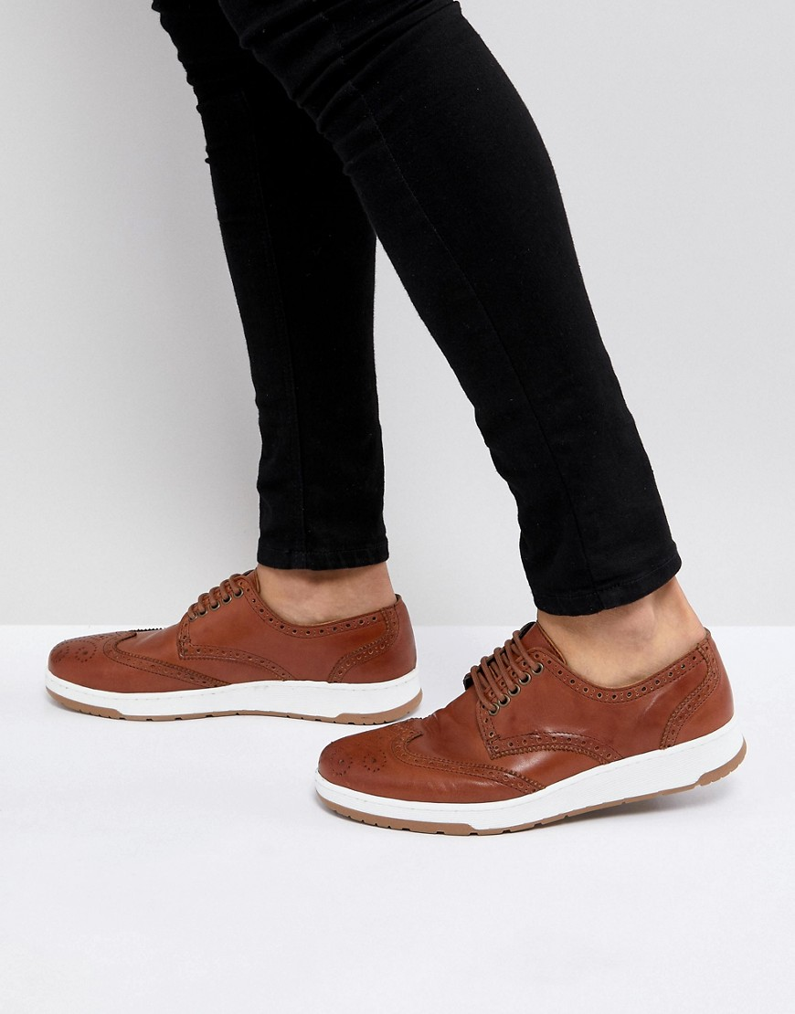ASOS Casual Brogue Shoes In Brown Leather With Ribbed Sole
