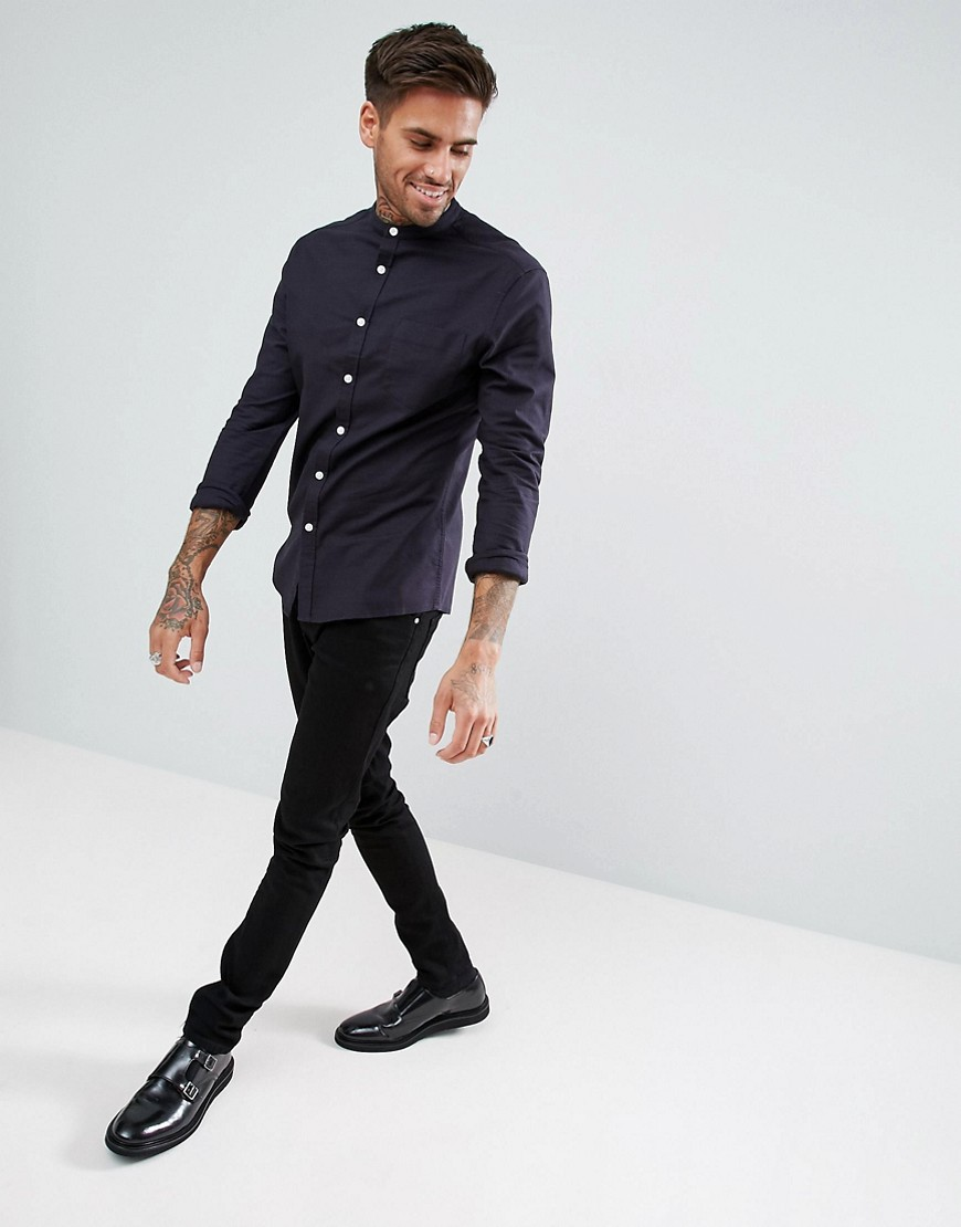 Asos Casual Skinny Oxford In Navy With Grandad Collar by Asos