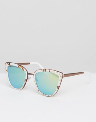 Image 1 of ASOS Cat Eye Sunglasses With Metal Sandwich In Marble With Flash Lens