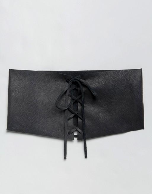 Populaire En Ligne ASOS - ASOS - Ceinture large en cuir effet corset Livraison Gratuite Footlocker Finishline Choix En Ligne Libre Rabais D'expédition z9ZdV2Tqg0