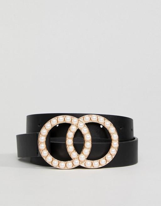 Ceinture pour taille et hanches avec deux boucles ornées de perles
