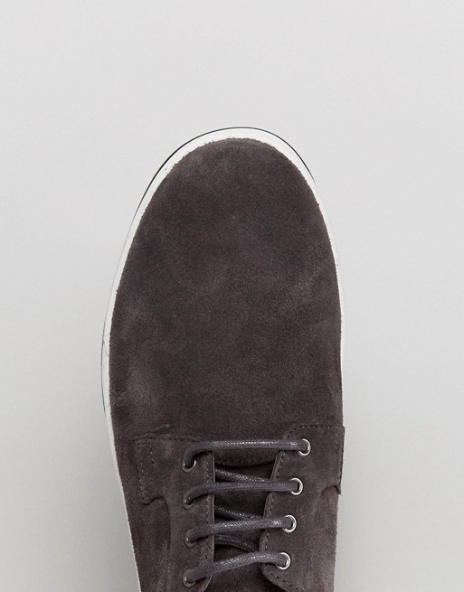 Chaussures derby casual en daim avec semelle côtelée - Gris