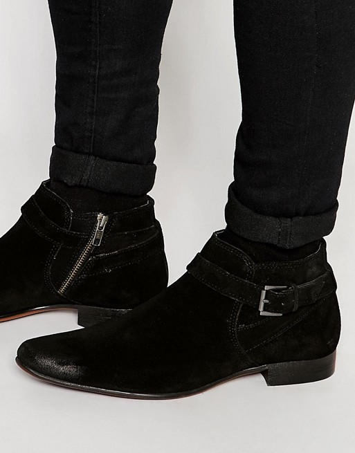 Home; ASOS Chelsea Boots in Black Suede With Buckle Strap.  image.AlternateText