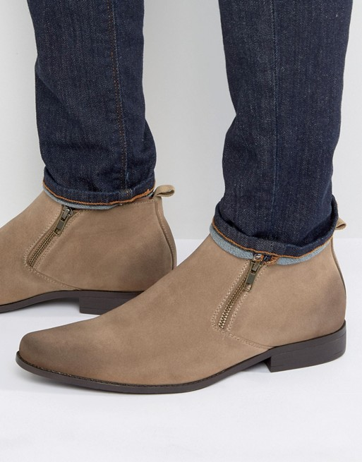 ASOS Chelsea Boots in Stone Faux Suede With Zip Detail