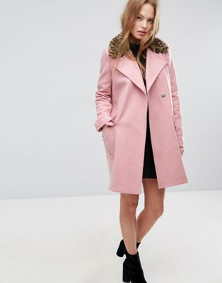 Image 1 of ASOS Coat with Leopard Print Collar