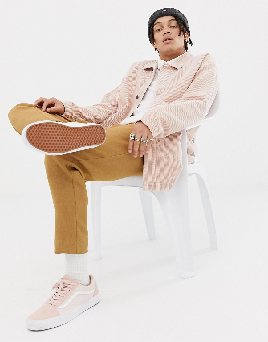 Asos Cord Worker Jacket In Pink by Asos