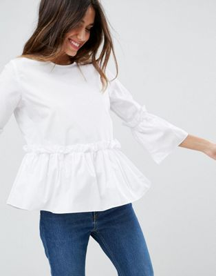 Image 1 of ASOS Cotton Ruffle Smock Top