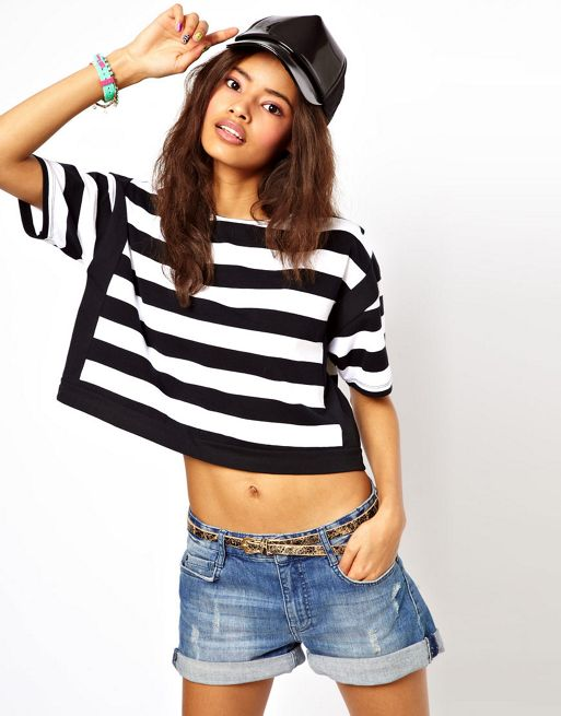 Image 1 of ASOS Cropped T-Shirt with Thick Stripe