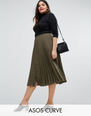 Image 1 of ASOS CURVE Button Through Pleated Midi Skirt
