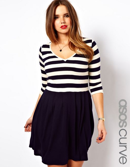 Image 1 of ASOS CURVE Exclusive Skater Dress in Stripe