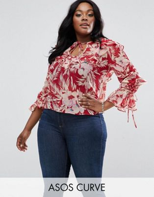 Image 1 of ASOS CURVE Floaty Blouse In Red Floral Print
