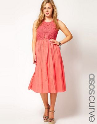 Image 1 of ASOS CURVE Midi Dress With Crochet