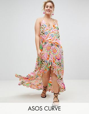 Image 1 of ASOS CURVE New Retro Print Pom Pom Trim High Low Hem Maxi Beach Dress